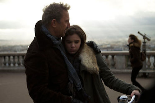 Kevin Costner and Hailee Steinfeld in 3 Days to Kill. 2014 Relativity Media.