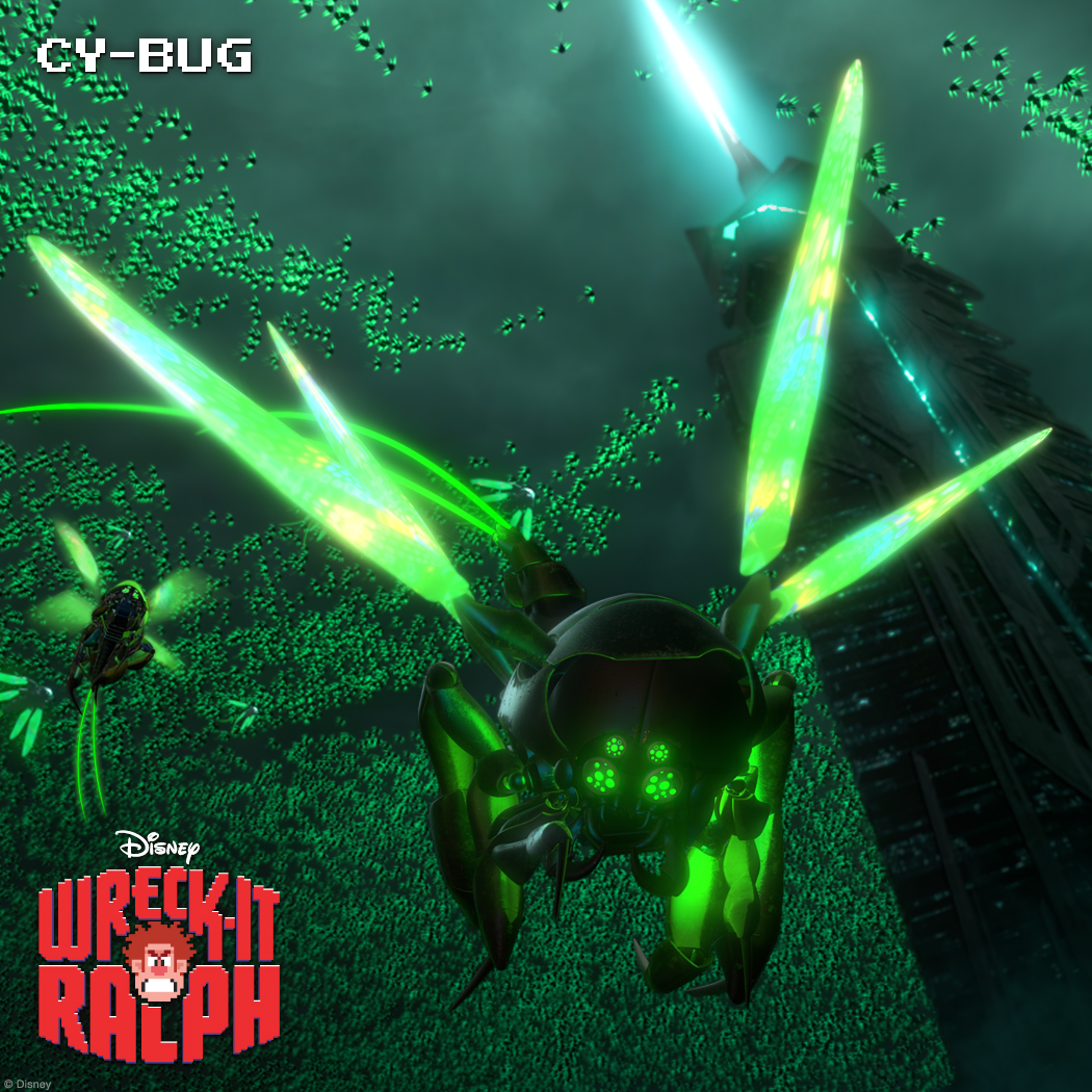 Cy-Bugs: Insects Gone Bad Menacing creatures known as Cy-Bugs are a deadly threat to not only their game, Hero's Duty, but the entire arcade. They know just three things: Eat, destroy and multiply. Players beware! Cy-Bugs can morph into anything they eat—from an attack buggy to an assault rifle. They do have one weakness—an attraction to bright light. (They are bugs, after all.)