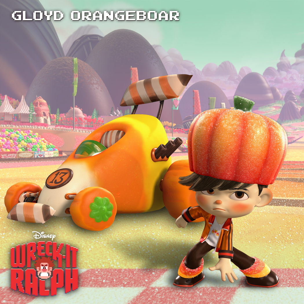 Gloyd Orangeboar: Prankster with a Sweet Tooth Round-faced little hooligan Gloyd Orangeboar loves nothing more than candy, candy, candy! Fortunately for him, Sugar Rush has plenty to choose from and he enjoys it all. For this fast-racing prankster, every day is Halloween.