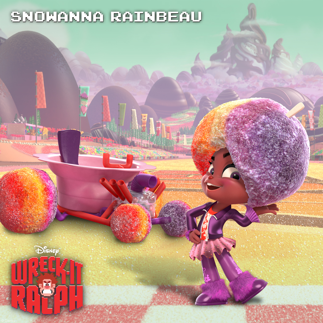 Snowanna Rainbeau: Cool Chick A Sugar Rush racer with some serious style, Snowanna Rainbeau is a vivacious young spirit with a personality as loud and colorful as her hairdo. With a boogying beat in her soul, she's as cool as ice! Watch out racers, she'll lay down a funky track with her chilling charm and you'll never see it coming!