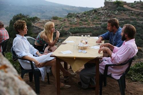 Ralph Fiennes, Dakota Johnson, Matthias Schoenaerts, and Tilda Swinton in A Bigger Splash (2015). Photo courtesy of StudioCanal.