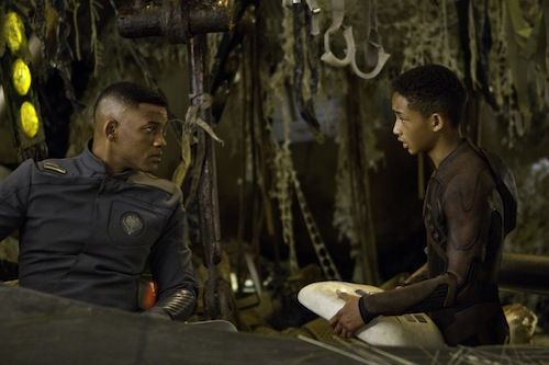 Will Smith, left, and Jaden Smith star in Columbia Pictures' After Earth. PHOTO BY: Frank Masi, SMPSP COPYRIGHT: 2013 CTMG. All Rights Reserved.