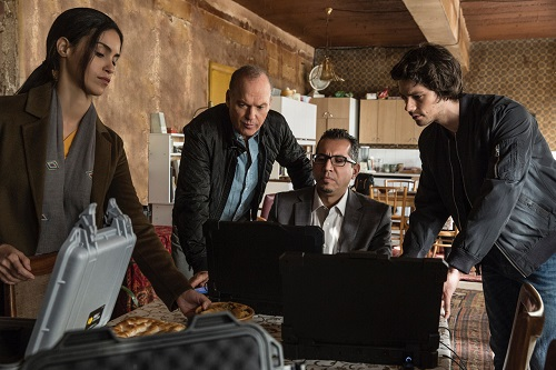 (Left to right) Shiva Negar, Michael Keaton, Neg Adamson and Dylan O'Brien in AMERICAN ASSASSIN to be released by CBS Films and Lionsgate.