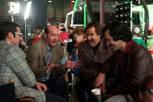 Steve Carell, David Koechner, Will Ferrell and Paul Rudd  in Anchorman 2: The Legend Continues. 2013 Paramount Pictures.