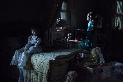 (L-R) The Annabelle doll and TALITHA BATEMAN as Janice in New Line Cinema's supernatural thriller ANNABELLE: CREATION, a Warner Bros. Pictures release. Photo: Justin Lubin, © 2017 WARNER BROS. ENTERTAINMENT INC. AND RATPAC-DUNE ENTERTAINMENT LLC.