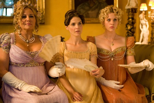 Jennifer Coolidge as Miss Elizabeth Charming, Keri Russell as Jane Hayes and Georgia King as Lady Amelia Heartwright Photo by Giles Keyte, Courtesy of Sony Pictures Classics