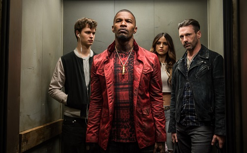 (l to r) Baby (ANSEL ELGORT), Bats (JAMIE FOXX), Darling (EIZA GONZALEZ) and Buddy (JON HAMM) decide on doing the heist in TriStar Pictures' BABY DRIVER. Sony Pictures Entertainment 2017, All Rights Reserved.