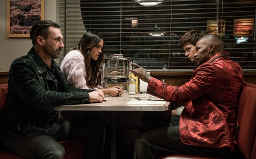 (l to r) Buddy (Jon Hamm), Darling (Eiza Gonzalez), Baby (Ansel Elgort) and Bats (JAMIE FOXX) discuss the next heist in TriStar Pictures' BABY DRIVER. Sony Pictures Entertainment 2017, All Rights Reserved.