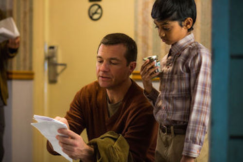 Director Jason Bateman and Rohan Chand on the set of Bad Words. 2014 Focus Features.