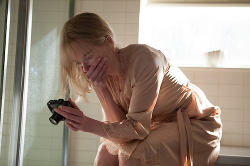 Christine Lucas (NICOLE KIDMAN) tries to piece together the mysteries of her past obliterated by amnesia by recording a daily video diary in BEFORE I GO TO SLEEP. Photo credit: Laurie Sparham/Clarius Entertainment.