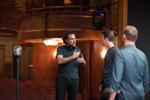 Director Alejandro G. Iñárritu, Edward Norton, and Michael Keaton on the set of BIRDMAN.
