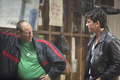 (Left to right) Aaron Eckhart and Miles Teller in BLEED FOR THIS. Photo courtesy Open Road Films.