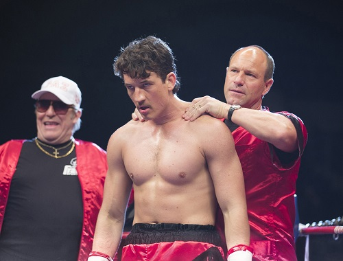 (Left to right) Ciaran Hinds, Miles Teller and Aaron Eckhart in BLEED FOR THIS. Photo courtesy Open Road Films.