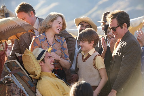 (l-r.) Hugh Bonneville stars as Teddy Hall, Claire Foy and Andrew Garfield as Diana and Robin Cavendish, Harry Marcus as their son Jonathan (age 10) and Tom Hollander as David Blacker in BREATHE, a Bleecker Street and Participant Media release. Photo credit: David Bloomer.