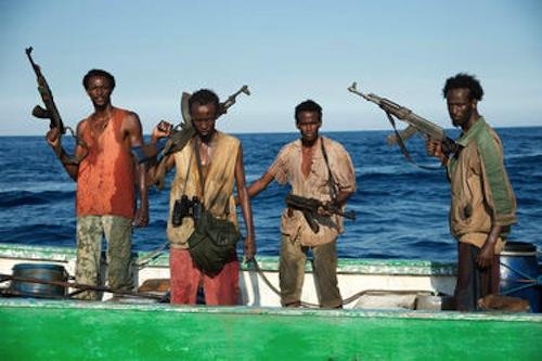 Faysal Ahmed, Barkhad Abdi, Barkhad Abdirahman and Mahat Ali in Captain Phillips. 2013 Jasin Boland / Lionsgate Films.