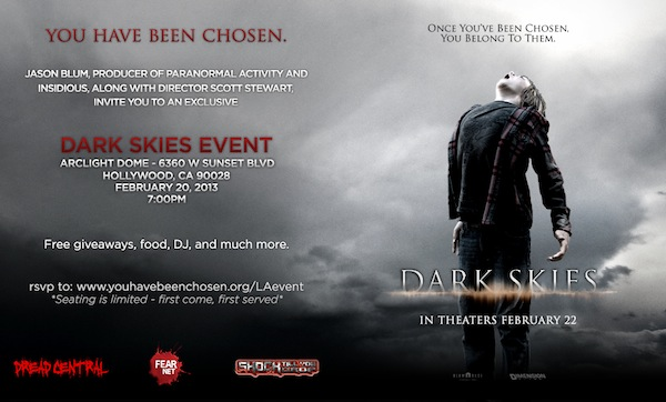 Dark Skies Free Screening Event Invite, Los Angeles