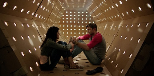 DAVE MADE A MAZE - Meera Rohit Kumbhani and Nick Thune in the Kubrick corridor, courtesy Gravitas Ventures 2017, All Rights Reserved.