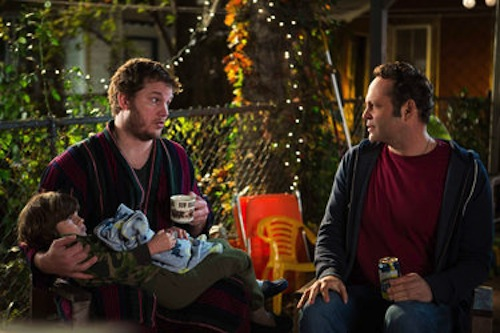 Vince Vaughn as David Wozniak and Chris Pratt as Brett in Delivery Man. 2013 DreamWorks II Distribution Co.