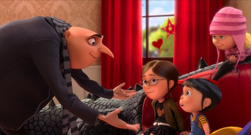 Gru (STEVE CARELL) has a big talk with Margo (MIRANDA COSGROVE), Agnes (ELSIE FISHER) and Edith (DANA GAIER) in Despicable Me 2, summer 2013's much-anticipated follow-up to Universal Pictures and Illumination Entertainment's blockbuster comedy adventure Despicable Me. Photo Credit: Universal Pictures and Illumination Entertainment. Copyright: 2013 Universal Studios. ALL RIGHTS RESERVED.