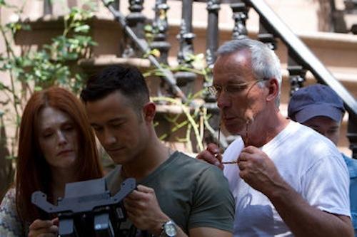 Julianne Moore, Joseph Gordon-Levitt and Thomas Kloss on the set of Don Jon. 2013 Relativity Media.