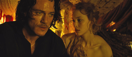 Vlad (LUKE EVANS) seeks compassion from wife Mirena (SARAH GADON) in Dracula Untold, the origin story of the man who became Dracula. Gary Shore directs and Michael De Luca produces the epic action-adventure Photo Credit: Universal Pictures Copyright: 2014 Universal Studios. ALL RIGHTS RESERVED.