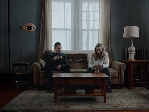 Ethan Hawke and Amanda Seyfried in First Reformed, courtesy A24.