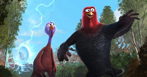 Reggie voiced by Owen Wilson and Jake voiced by Woody Harrelson in Free Birds. 2013 Relativity Media.