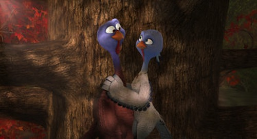 Reggie voiced by Owen Wilson and Jenny voiced by Amy Poehler in Free Birds. 2013 Relativity Media.