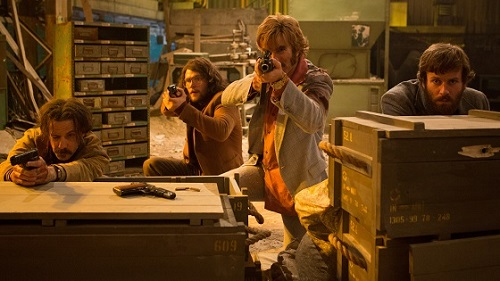 Noah Taylor, Jack Reynor, Sharlto Copley and Armie Hammer in Free Fire, photo by Kerry Brown courtesy of A24.