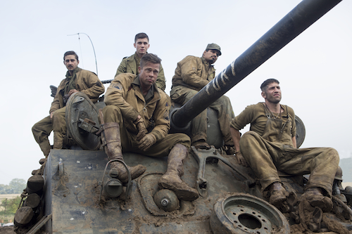 Don Wardaddy Collier (Brad Pitt, centered) and his men Boyd Swan (Shia LaBeouf), Norman Ellison (Logan Lerman), Trini Garcia (Michael Pena) and Grady Travis (Jon Bernthal) in Columbia Pictures' FURY. Photo Credit: Giles Keyte. 2014 CTMG, Inc. All Rights Reserved. ALL IMAGES ARE PROPERTY OF SONY PICTURES ENTERTAINMENT INC. FOR PROMOTIONAL USE ONLY.