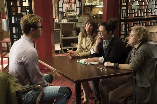 Erin (Kristen Wiig), Abby (Melissa McCarthy) and Holtzmann (Kate McKinnon) interview Kevin (Chris Hemsworth) for the receptionist job in Columbia Pictures' GHOSTBUSTERS.