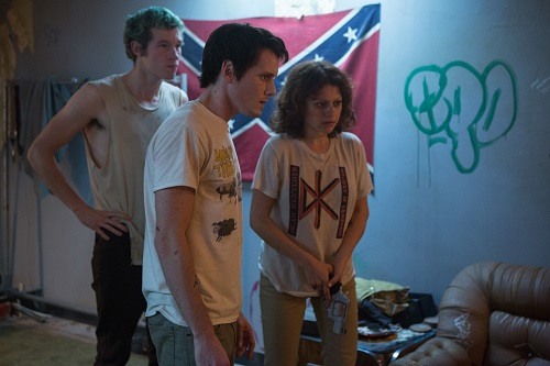 Callum Turner, Anton Yelchin and Alia Shawkat in Green Room, photo by Scott Patrick, courtesy of A24.