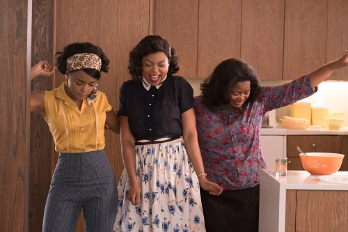 Mary Jackson (Janelle Monae, left), Katherine Johnson (Taraji P. Henson) and Dorothy Vaughan (Octavia Spencer) celebrate their stunning achievements in one of the greatest operations in history. Photo Credit: Hopper Stone, 2016 Twentieth Century Fox Film Corporation. All Rights Reserved.