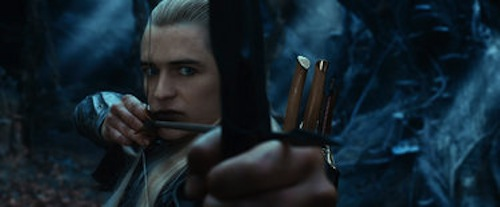 Orlando Bloom as Legolas The Hobbit: The Desolation of Smaug. 2013 Warner Bros.