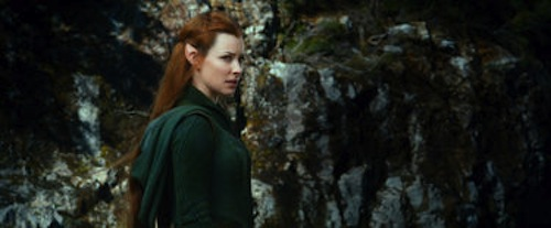 Evangeline Lilly as Tauriel in The Hobbit: The Desolation of Smaug. 2013 Warner Bros.