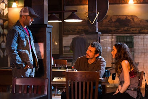 Jason Statham, James Franco, and Winona Ryder in Homefront. 2013 Open Road Films.