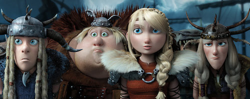 Tuffnut (T.J. Miller), Fishlegs (Christopher Mintz-Plasse), Astrid (America Ferrara) and Ruffnut (Kristen Wiig) face their toughest challenge ever. How to Train Your Dragon 2 2014 DreamWorks Animation LLC. All Rights Reserved.