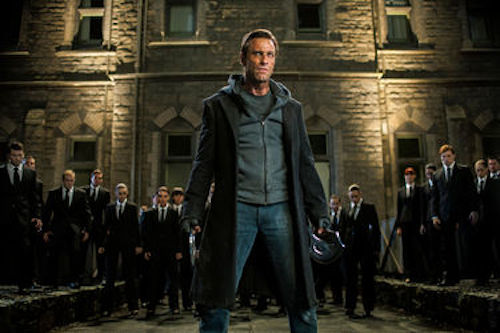 Aaron Eckhart as Adam in I, Frankenstein.2014 Ben King / Lionsgate Films