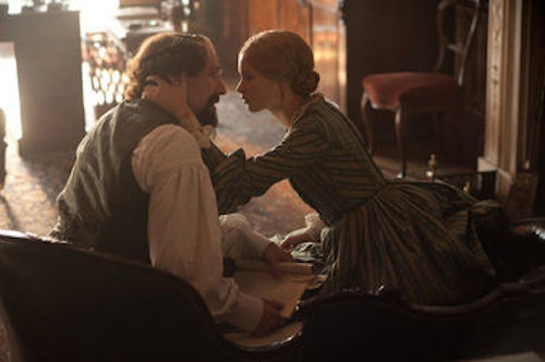 Ralph Fiennes as Charles Dickens and Felicity Jones as Nelly Ternan in The Invisible Woman.