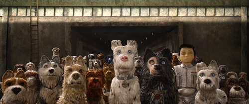 (From L-R): Bill Murray as Boss, Jeff Goldblum as Duke, Edward Norton as Rex, Bob Balaban as King, Liev Shreiber as Spots, Harvey Keitel as Gondo, Koyu Rankin as Atari Kobayashi, and Bryan Cranston as Chief in the film ISLE OF DOGS. Photo Courtesy of Fox Searchlight Pictures. © 2018 Twentieth Century Fox Film Corporation All Rights Reserved.