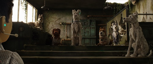 (From L-R): Edward Norton as Rex, Bob Balaban as King, Liev Shreiber as Spots, Bill Murray as Boss, Jeff Goldblum as Duke, and Bryan Cranston as Chief in the film ISLE OF DOGS. Photo Courtesy of Fox Searchlight Pictures. © 2018 Twentieth Century Fox Film Corporation All Rights Reserved.