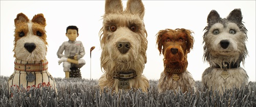 (From L-R): Bill Murray as Boss, Koyu Rankin as Atari Kobayashi, Edward Norton as Rex, Bob Balaban as King, and Jeff Goldblum as Duke in the film ISLE OF DOGS. Photo Courtesy of Fox Searchlight Pictures. © 2018 Twentieth Century Fox Film Corporation All Rights Reserved.
