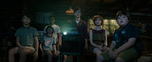 (l-r) WYATT OLEFF as Stanley Uris, FINN WOLFHARD as Richie Tozier, CHOSEN JACOBS as Mike Hanlon, JAEDEN LIEBERHER as Bill Denbrough, SOPHIA LILLIS as Beverly Marsh and JEREMY RAY TAYLOR as Ben Hanscom in New Line Cinema's horror thriller IT, a Warner Bros. Pictures release. Photo courtesy Warner Bros. Pictures, © 2017 WARNER BROS. ENTERTAINMENT INC. AND RATPAC-DUNE ENTERTAINMENT LLC.  ALL RIGHTS RESERVED.