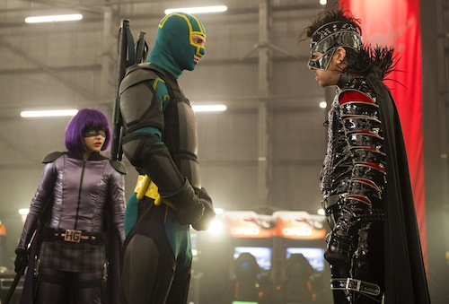 Hit Girl (CHLOË GRACE MORETZ) and Kick-Ass (AARON TAYLOR-JOHNSON) face off against The Mother  (CHRISTOPHER MINTZ-PLASSE) in the follow-up to 2010's irreverent global hit: Kick-Ass 2. Photo Credit: Daniel Smith Copyright: © 2013 Universal Studios. ALL RIGHTS RESERVED.