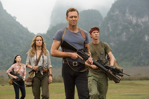 (L-R) JING TIAN as San, BRIE LARSON as Mason Weaver, TOM HIDDLESTON as James Conrad and THOMAS MANN as Slivko in Warner Bros. Pictures', Legendary Pictures' and Tencent Pictures' action adventure