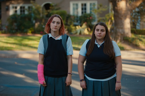 Saoirse Ronan and Beanie Feldstein in Lady Bird, photo by Merie Wallace, courtesy A24.