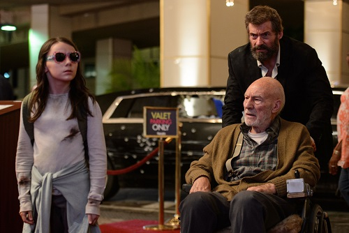Laura (Dafne Keen), Charles (Patrick Stewart) and Logan (Hugh Jackman) in LOGAN. Photo Credit: Ben Rothstein. Courtesy Marvel and Twentieth Century Fox Film Corporation, All rights reserved.