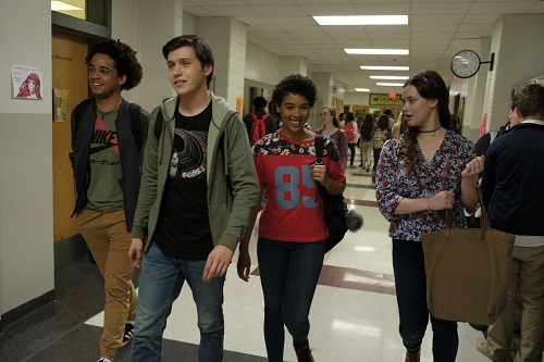 L-R: Jorge Lendeborg (Nick), Nick Robinson (Simon), Alexandra Shipp (Abby), and Katherine Langford (Leah) star in Twentieth Century Fox's LOVE, SIMON. © 2017 Twentieth Century Fox Film Corporation. All Rights Reserved. Photo Credit: Ben Rothstein.
