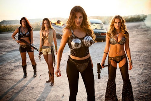 Emmy Robbin as Pris, Elle LaMont as Dollface, Sofia Vergara as Madame Desdemona and Alexa Vega as KillJoy in Machete Kills. 2013 Open Road Films.