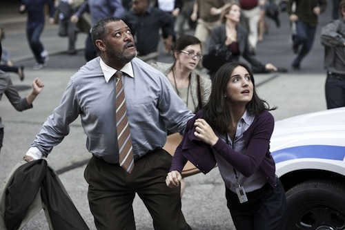LAURENCE FISHBURNE as Perry White and REBECCA BULLER as Jenny in Warner Bros. Pictures' and Legendary Pictures' action adventure MAN OF STEEL, a Warner Bros. Pictures release. TM and © DC Comics. Photo by Clay Enos